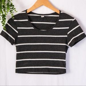 🎉3 for 10   Grey/White Striped Cropped Top